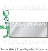 Vector Illustration of a Toothbrush with a Blank Silver Plaque by Toons4Biz