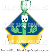 Vector Illustration of a Toothbrush with a Gold Banner on a Blue Diamond by Toons4Biz