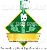 Vector Illustration of a Toothbrush with a Gold Banner on a Green Diamond by Toons4Biz