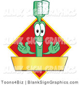 Vector Illustration of a Toothbrush with a Gold Banner on a Red Diamond by Toons4Biz