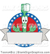 Vector Illustration of a Toothbrush with American Stars and a Blank Banner by Toons4Biz