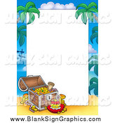 Vector Illustration of a Treasure Chest and Tropical Border Around Text Space by Visekart