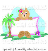 Vector Illustration of a Tropical Cat Holding a Blank Sign by Bpearth