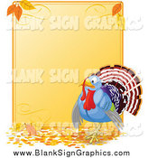 Vector Illustration of a Turkey Bird on a Thanksgiving Sign with Autumn Leaves by Pushkin