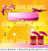 Vector Illustration of a Two Red Cocktails by a Disco Ball with Stars with a Blank Sign, Palm Trees and a Plane by Elaineitalia