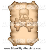 Vector Illustration of a Vertical Parchment Page with a Skull and Crossbones by Visekart