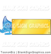 Vector Illustration of a Water Droplet by a Blank Gold Plaque by Toons4Biz