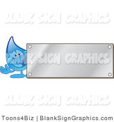 Vector Illustration of a Water Droplet by a Blank Silver Plaque by Toons4Biz