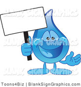 Vector Illustration of a Water Droplet Holding a Blank Sign by Toons4Biz