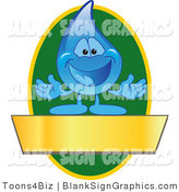 Vector Illustration of a Water Droplet with a Green Oval and a Blank Gold Banner by Toons4Biz