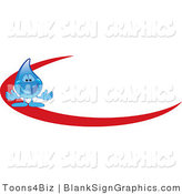 Vector Illustration of a Water Droplet with a Red Dash by Toons4Biz