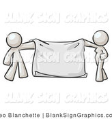 Vector Illustration of a White Man and Woman Holding a Blank Sign Banner by Leo Blanchette