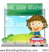 Vector Illustration of a Winking Happy Girl Driving a Red Car Under a Sign by Graphics RF