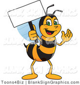 Vector Illustration of a Worker Bee Holding a Blank Sign and Waving by Toons4Biz