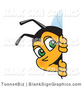 Vector Illustration of a Worker Bee Looking Around a Blank Sign by Toons4Biz