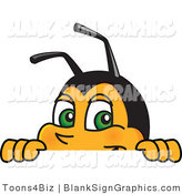 Vector Illustration of a Worker Bee Looking over a Blank Sign by Toons4Biz