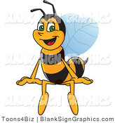 Vector Illustration of a Worker Bee Sitting on a Blank Sign by Toons4Biz