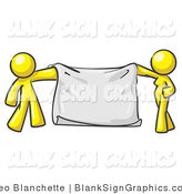 Vector Illustration of a Yellow Couple Holding a Blank Sign Banner by Leo Blanchette