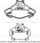 Vector Illustration of Aggressive Black and White Bear Banners by Vector Tradition SM