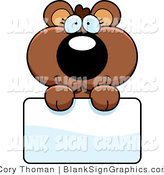 Vector Illustration of an Adorable Bear Cub Holding a Sign by Cory Thoman