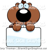 Vector Illustration of an Adorable Beaver Holding a Blank Sign by Cory Thoman