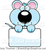 Vector Illustration of an Adorable Blue Mouse Holding a Blank Sign by Cory Thoman
