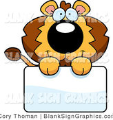 Vector Illustration of an Adorable Lion Holding a Blank Sign by Cory Thoman