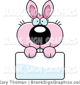 Vector Illustration of an Adorable Pink Bunny Holding a Blank Sign by Cory Thoman