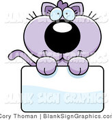 Vector Illustration of an Adorable Purple Kitten Holding a Blank Sign by Cory Thoman