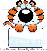 Vector Illustration of an Adorable Tiger Holding a Blank Sign by Cory Thoman