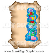 July 29th, 2014: Vector Illustration of an Aged Parchment Scroll Page with Christmas Gifts by Visekart