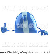 Vector Illustration of an Encouraging 3d Blue Computer Mouse Character Giving the Thumbs up and Standing Behind a Blank Sign by Julos