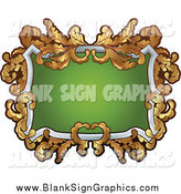 Vector Illustration of an Ornate Gold Blank Sign Around Green with Copyspace by AtStockIllustration