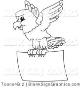 Vector Illustration of an Outlined Eagle Hawk or Falcon Flying a Blank Sign by Toons4Biz