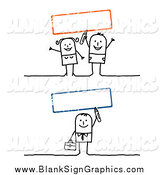 Vector Illustration of Blank Red and Green Signs with a Stick People Man and Couple by NL Shop