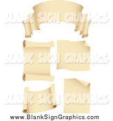 Vector Illustration of Blank Scroll Banners and Signs by Cidepix