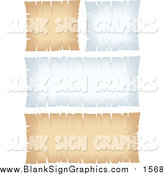 Vector Illustration of Blank White and Beige Parchment Signs with Torn Edges by Cidepix