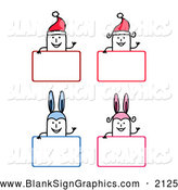 Vector Illustration of Christmas and Easter Stick People over Signs by NL Shop