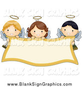 Vector Illustration of Cute Angel Girls Holding a Banner by BNP Design Studio