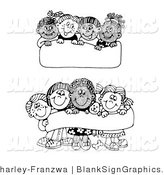 Vector Illustration of Diverse Children Holding up Blank Signs by C Charley-Franzwa