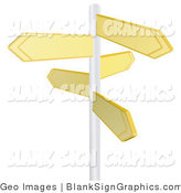 Vector Illustration of Five Blank Yellow Arrow Shaped Street Signs by AtStockIllustration