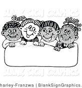 Vector Illustration of Four Happy Children Smiling and Holding up a Blank Sign by C Charley-Franzwa