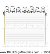 Vector Illustration of Friendly Stick People Characters Looking over Blank Lined Paper by NL Shop
