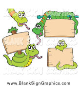 Vector Illustration of Green Snakes with Blank Wood Signs by Visekart