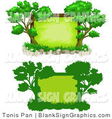 Vector Illustration of Green Tree Signs by Tonis Pan