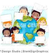 Vector Illustration of Happy Kids Holding Blank Signs Around a Globe on Earth Day by BNP Design Studio