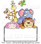 Vector Illustration of Happy Zoo Animals over a Blank Sign by Hit Toon