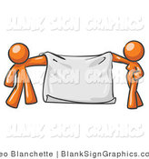 Vector Illustration of Orange People Holding a Blank Sign Banner by Leo Blanchette