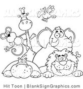 Vector Illustration of Outlined Zoo Animals over a Blank Sign by Hit Toon