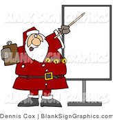 Vector Illustration of Santa Holding a Clipboard and Pointing to a Blank Christmas Sign by Djart